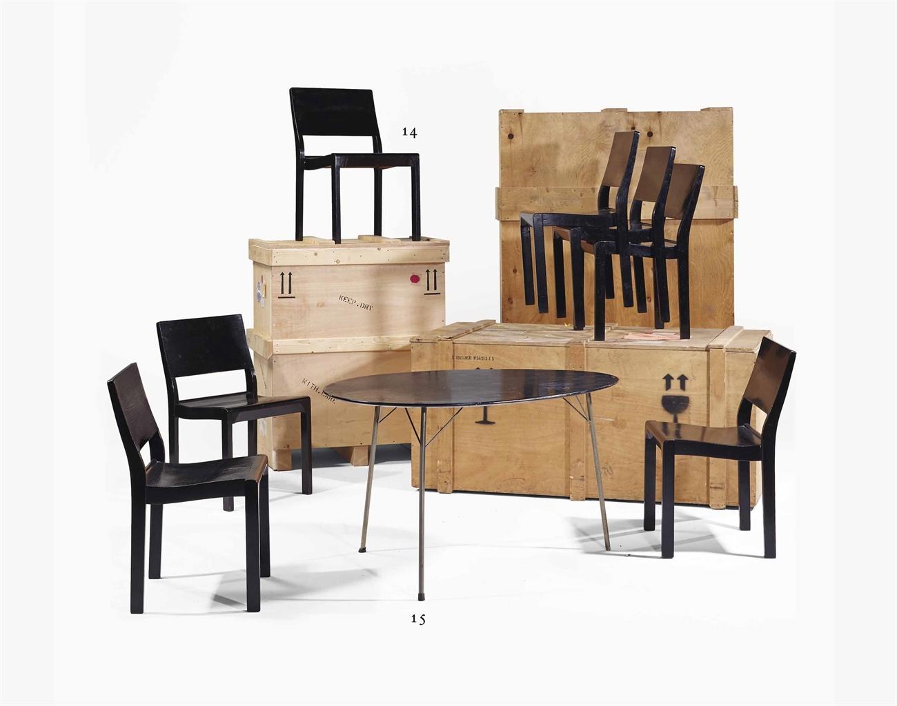 Alvar aalto 1898 1976 ensemble de sept chaises for Chaise alvar aalto