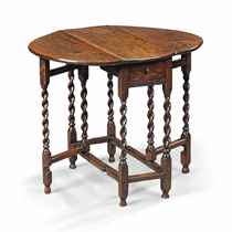 A SMALL WILLIAM AND MARY OAK SPIRAL-LEG GATE-LEG TABLE