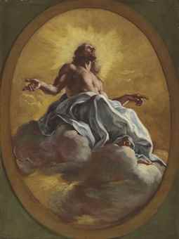 Christ in Glory, in a painted oval