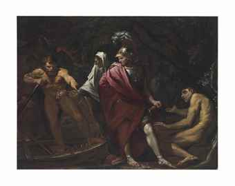 Aeneas and the Cumaean Sibyl presenting the Golden Bough to Charon