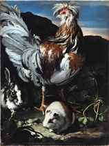 A Rooster, Rabbit and Guinea Pig in a Landscape