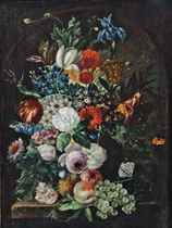 Roses and other flowers in a stone urn with peaches and grapes on a stone ledge, set in a niche