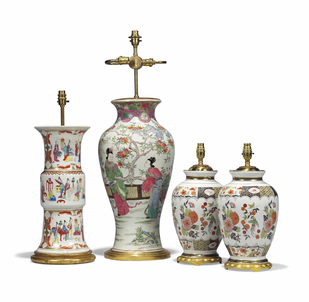Two Chinese Porcelain Famille Rose Vase Lamps 19th