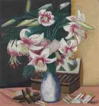 Stilleben mit Türkenbund (Blumen mit Zigarrenkiste)