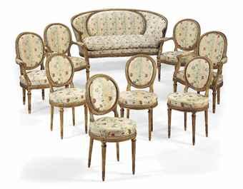 mobilier de salon de style louis xvi xxeme siecle dans le gout de louis delanois furniture. Black Bedroom Furniture Sets. Home Design Ideas
