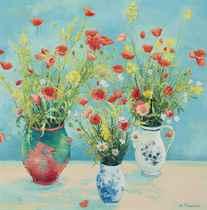 Trois Bouquets Au Fond Bleu