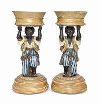 A PAIR OF NORTH ITALIAN POLYCHROME-PAINTED AND PARCEL-GILT B