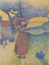 Paysanne portant une corbeille, étude pour La ferme, soir