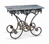 A FRENCH BRASS-MOUNTED WROUGHT AND CAST IRON BUTCHERS TABLE