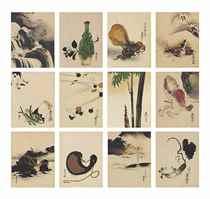 Album of twelve lacquer paintings