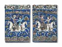 TWO MOULDED POTTERY TILES