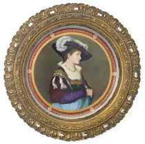 A LARGE VIENNA STYLE PORCELAIN CLARET-GROUND PORTRAIT CHARGE