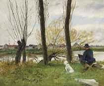 Peintre au bord d'une rivière