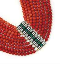 A CORAL, EMERALD AND DIAMOND NECKLACE