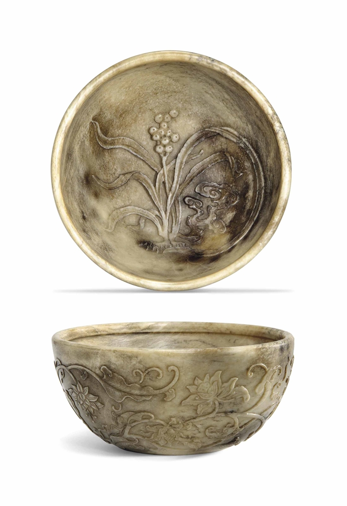 A chicken bone jade relief carved bowl th