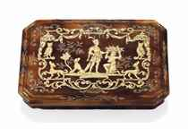 A GEORGE I TORTOISESHELL AND GOLD PIQUÉ-WORK SNUFF-BOX