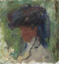 Portrait of a lady with a blue hat