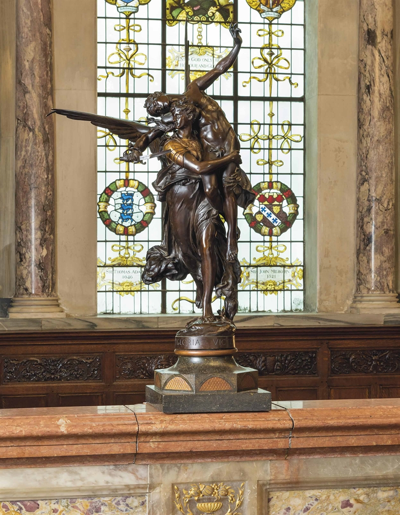 Marius Jean Antonin Mercié (French, Gloria Victis (Glory Defeated). Bronze, brown patina and gilt, 36 ½ in. (93 cm.) high. Estimate £10,000-15,000. This lot is offered in The Opulent Eye — 19th-Century Furniture, Sculpture, Works of Art, Ceramics & Carpets on 7 June 2016 at Christie's in London, King Street