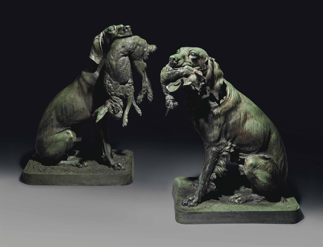 Ferdinand Pautrot (French, 1832-1874), Épagneul et Sarcelles et Chien Braque et Lièvre (Spaniel with a Teal and Pointer with a Hare). Bronze, green-brown patina, 31 ¼ in. (79.5 cm.) high and 33 ¾ in. (86 cm.) high, (2). Estimate £80,000-120,000. This lot is offered in The Opulent Eye — 19th-Century Furniture, Sculpture, Works of Art, Ceramics & Carpets