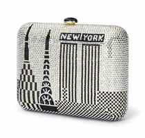 A JUDITH LEIBER SILVER AND BLACK CRYSTAL CLUTCH EVENING BAG
