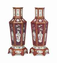 A PAIR OF CHINESE FAMILLE ROSE RETICULATED HEXAGONAL VASES A