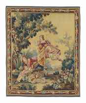 AN AUBUSSON 'GIRL ON THE SWING' TAPESTRY