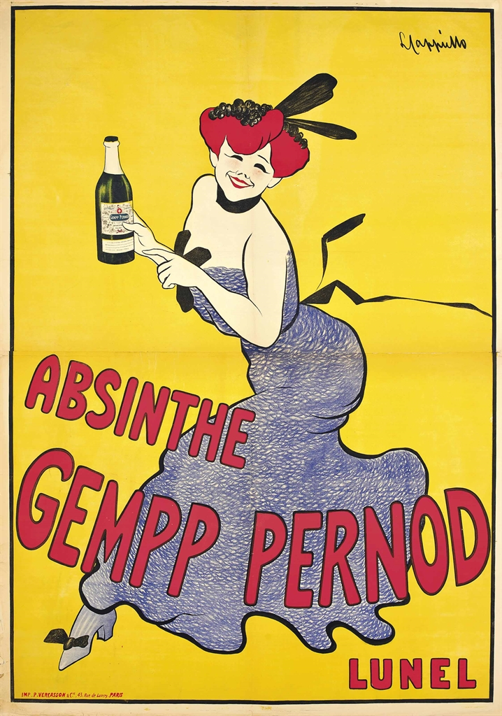 Leonetto Cappiello (1875-1942), Absinthe Gempp Pernod, circa 1910. Lithograph in colours. 75½ x 54 in (192 x 137 cm). Estimate £1,000-1,500. This lot is offered in Interiors on 8 June 2016 at Christie's in London, South Kensington