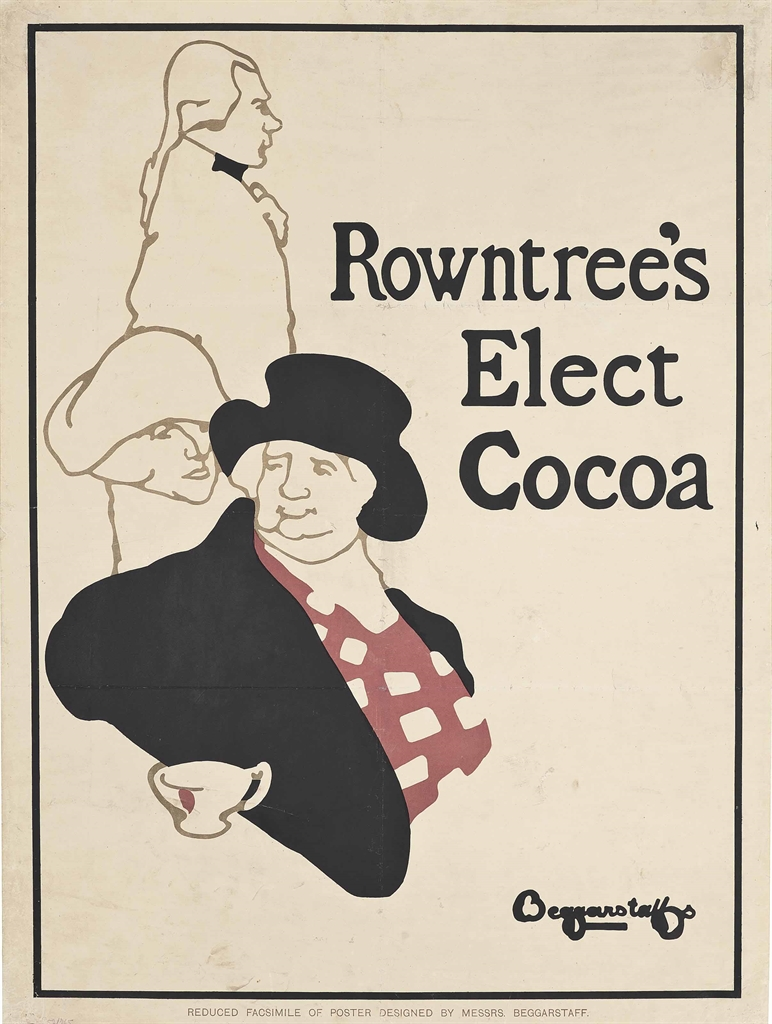 Beggarstaff Brothers (James Pryde, 1866-1941, Rowntrees Elect Cocoa, 1896. Lithograph in colours. 39½ x 29½ in. (100 x 76 cm). Estimate £3,000-5,000. This lot is offered in Interiors on 8 June 2016 at Christie's in London, South Kensington