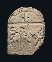 AN EGYPTIAN SANDSTONE STELE FOR HORUS AND SOBEK
