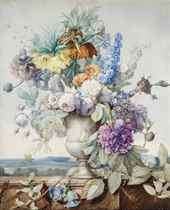 A bunch of flowers in an alabaster vase on a stylobate, a hilly landscape behind