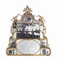 A GEORGE III GILTWOOD OVERMANTEL MIRROR WITH CHINESE EXPORT