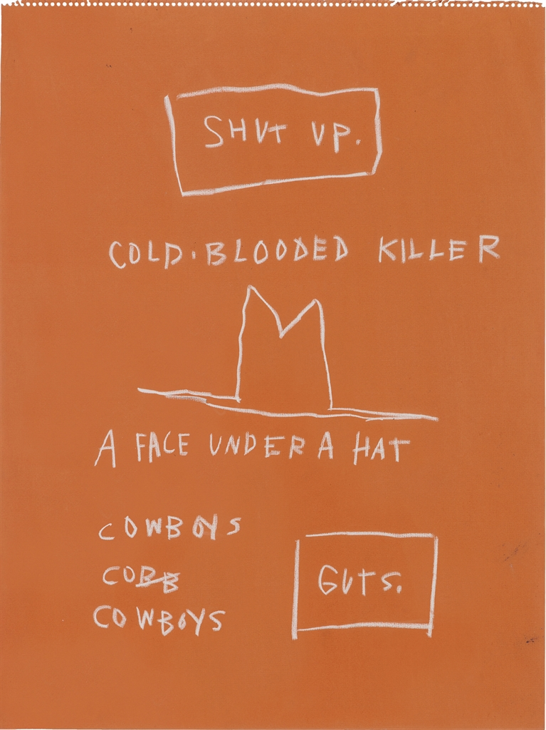 Jean-Michel Basquiat (1960-1988), Untitled (Cold Blooded Killer). Wax crayon on paper, 23 ½ x 18in. (59.7 x 45.7cm). Estimate £100,000-150,000. This lot is offered in Post-War and Contemporary Art Day Auction on 30 June 2016 at Christie's in London, King Street