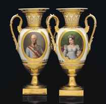 A PAIR OF VIENNA IMPERIAL PORTRAIT VASES OF EMPEROR FRANZ I AND EMPRESS KAROLINE AUGUSTE OF AUSTRIA