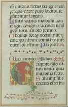 MONKS SINGING AT A LECTERN, historiated initial 'C' on a lea