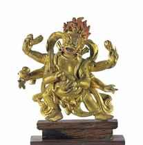 A Gilt Bronze Figure of Shadbhuja Mahakala