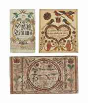 A GROUP OF THREE WATERCOLOR AND INK FRAKTUR BOOKPLATES
