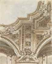 A section of a ceiling with coffering and sculpture (recto); Studies of architectural motives from S. Maria in Aracoeli, Rome (verso)