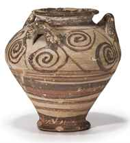 A MYCENAEAN PAINTED POTTERY PIRIFORM JAR