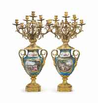 A PAIR OF ORMOLU-MOUNTED SEVRES STYLE PORCELAIN TURQUOISE-GR