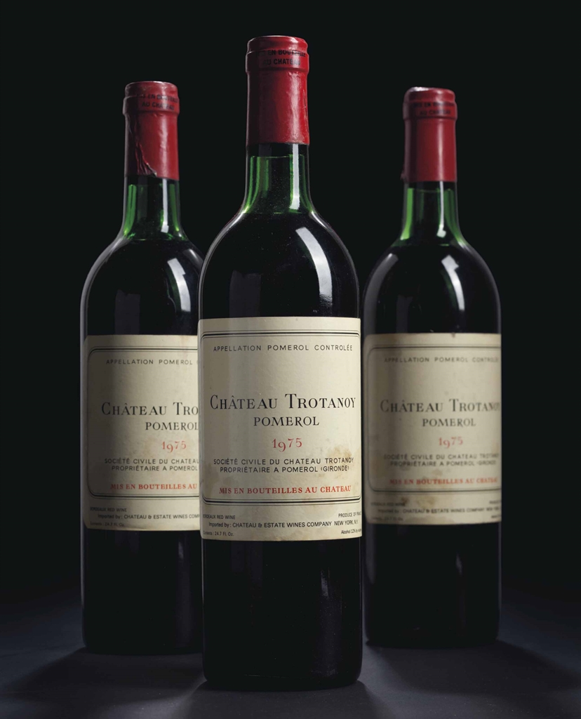 Château Trotanoy 1975. 12 bottles per lot. Estimate $3,500-5,000. This lot is offered in Fine Wines and Spirits Featuring the Exceptional Collection of Jay Stein on 21 October 2016 at Christie's in New York, Rockefeller Plaza