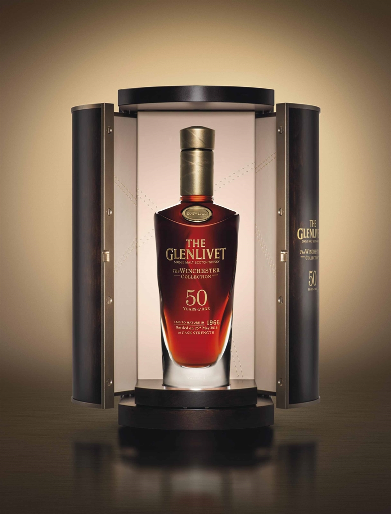 The Glenlivet, The Winchester Collection, 50-year-old vintage 1966. Direct from The Glenlivet Distillery to Benefit The UK Crafts Council. Speyside. Distilled 1966, sherry cask matured for 50 years, bottled 25 May 2016, at cask strength, only 100 numbered bottles released. Estimate $26,000-40,000. This lot is offered in Fine Wines and Spirits Featuring the Exceptional Collection of Jay Stein on 21