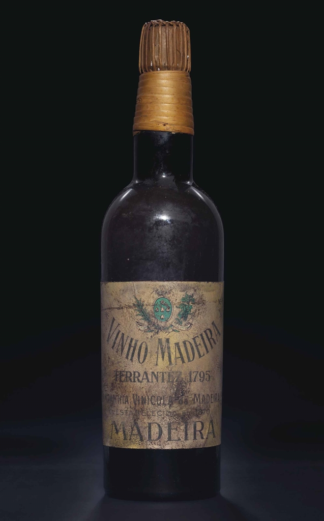 Companhia Vinicola da Madeira, Terrantez 1795. 1 bottle per lot. Estimate $3,000-5,000. This lot is offered in Fine Wines and Spirits Featuring the Exceptional Collection of Jay Stein on 21 October 2016 at Christie's in New York, Rockefeller Plaza