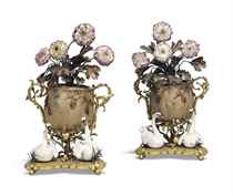 A PAIR OF LOUIS XV ORMOLU-MOUNTED CHINESE STONEWARE AND MEIS