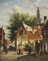 Townsfolk in a sunlit street