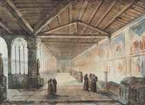 Interior of the Camposanto, Pisa with a group of monks: the north corridor with frescoes by Piero di Puccio and Benozzo Gozzoli