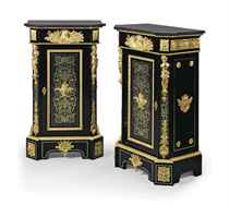 A PAIR OF NAPOLEON III ORMOLU-MOUNTED CUT-BRASS-INLAID TORTOISESHELL 'BOULLE' MARQUETRY AND EBONY PEDESTAL CABINETS