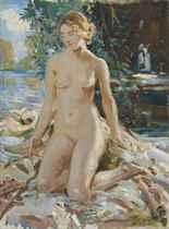 A kneeling female nude in a landscape