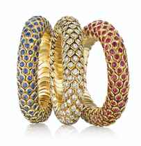 THREE SAPPHIRE, RUBY AND DIAMOND 'HONEYCOMB' BRACELETS, BY RENÉ BOIVIN