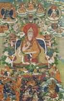 RARE THANGKA REPRESENTANT LE SEPTIEME DALAI LAMA (1708-1757)