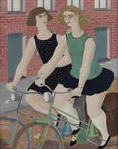 Two women on a bicycle